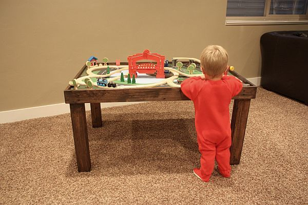 I wanted to make a train table for my son for Christmas and found this one!