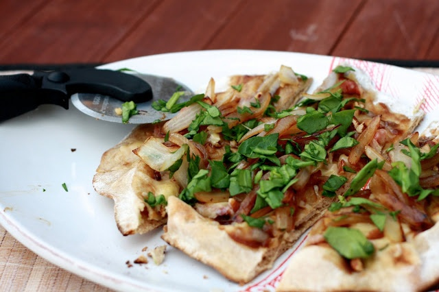 Bacon Apple Butter Flatbreads with Caramelized Onions and Gouda