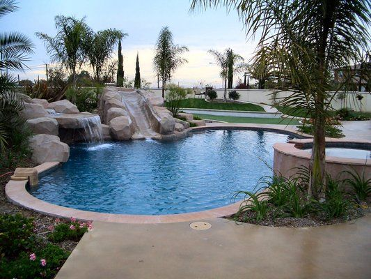 Love the pool with the natural slide