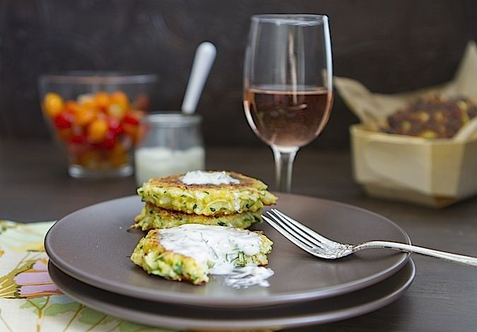 Zucchini Pancakes with Minty Dill Creme Fraiche | Chez Us