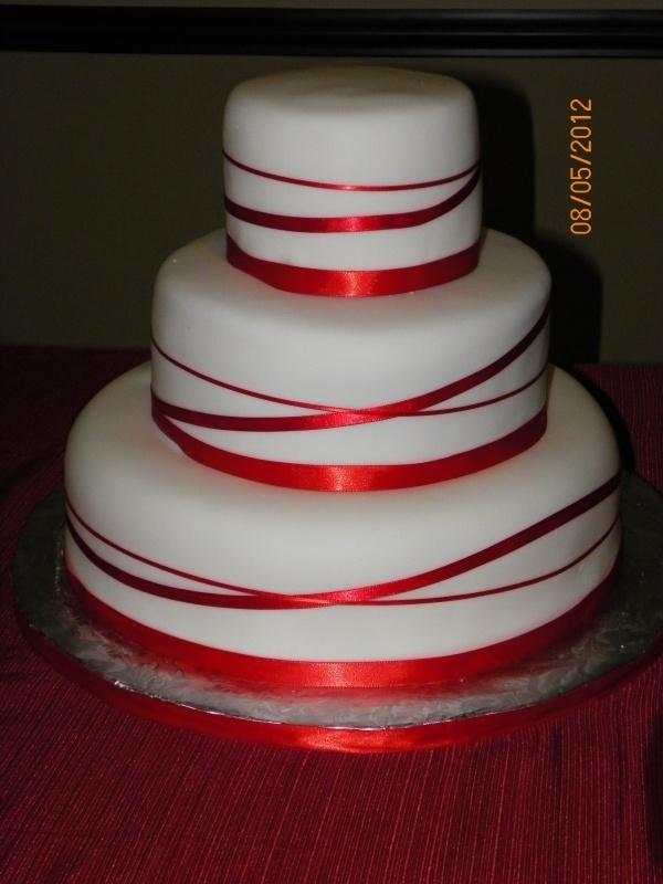 Red Ribbon Wedding Cake Wedding Pinterest