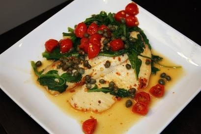 tilapia with spinach, tomatoes and a (healthy) lemon caper sauce ...