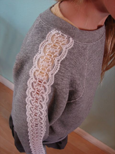 Elegance  Elephants: Knock it Off - a girl and a glue gun. Lace on sleeves of sweatshirt. Really cute.