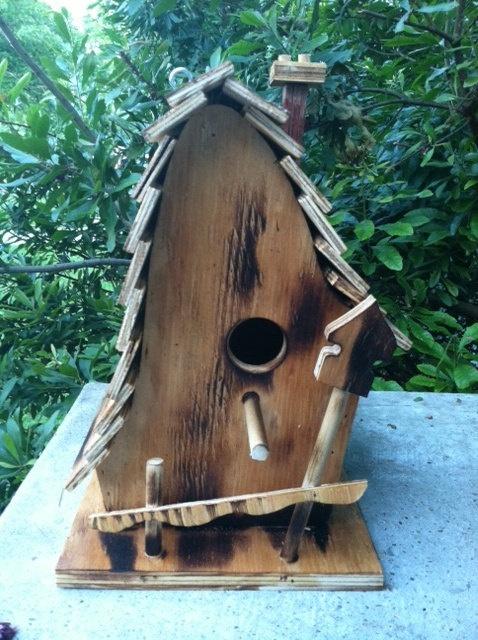 Handmade Whimsical Wooden Birdhouse by KnocksOnWood on Etsy, $43.00