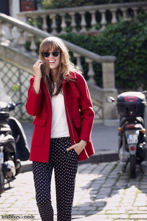 polka dots pant and red coat