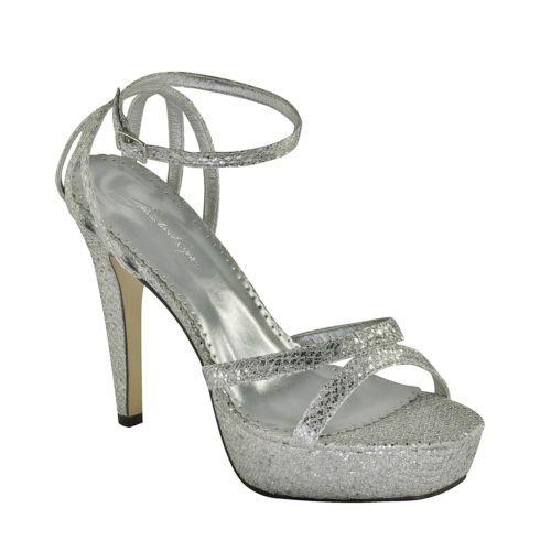 Glitz Silver Faux Snakeskin Platform Strappy High Heel Wedding Shoes