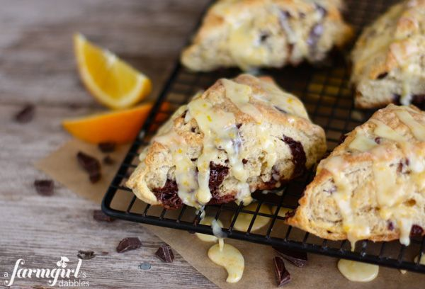 orange and dark chocolate scones with orange glaze - www ...
