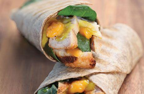 ... Wrap smoked turkey breast, spinach, cheddar cheese, honey mustard