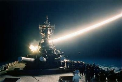 The USS Wisconsin firing a Tomahawk cruise missile during the first Gulf War (Operation Desert Storm). In times when war vessels have become lighter and smaller, big battleships like the Wisconsin are used as artillery and missile platforms, mostly against ground targets. The Wisconsin was decommissioned in 1991, a few months after the Gulf War.