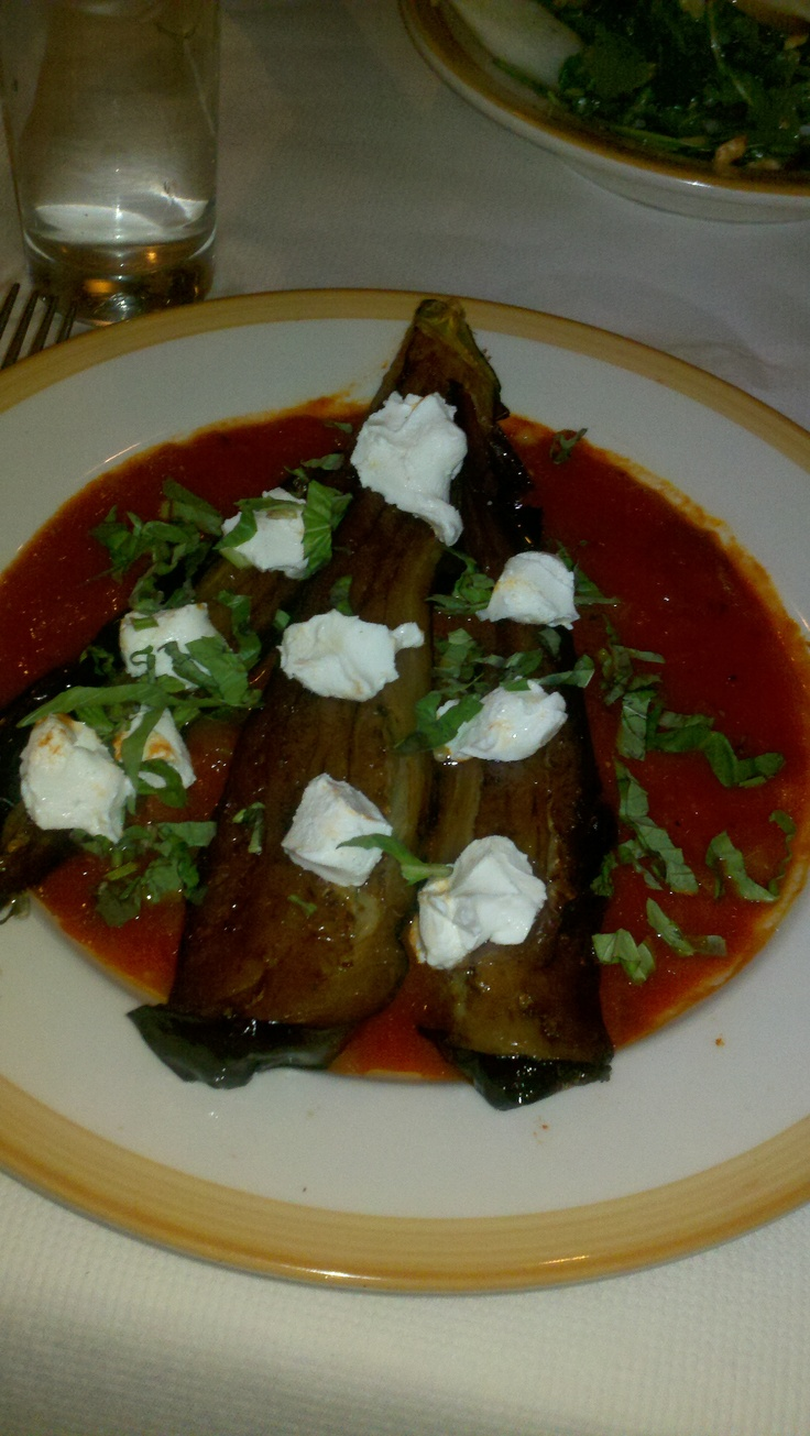 Roasted baby eggplant with tomato sauce, goat cheese, and basil ...
