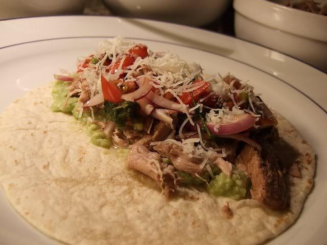 ... Cooked Pork Meat Taco, Avocado Mash, Tomato/Chile/Onion/Cilantro Mix