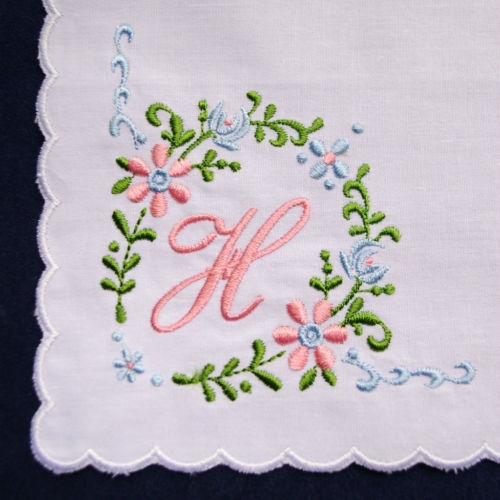 H Initial Vintage Style White Handkerchief Monogrammed Cotton Letter Hanky Pink