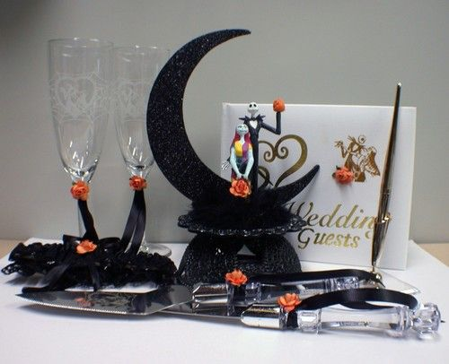 Nightmare Before Christmas Halloween Wedding Cake Topper Lot Glasses ...