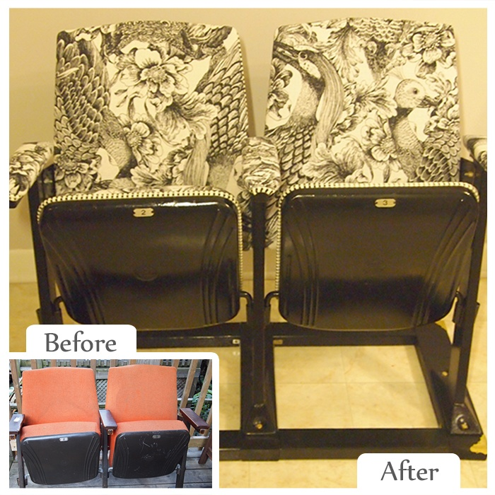 Lindsey Gerrish | Before Item: Old Movie Theatre Seats --- Upcycled Item: Entryway Seating #Makeover #Restore