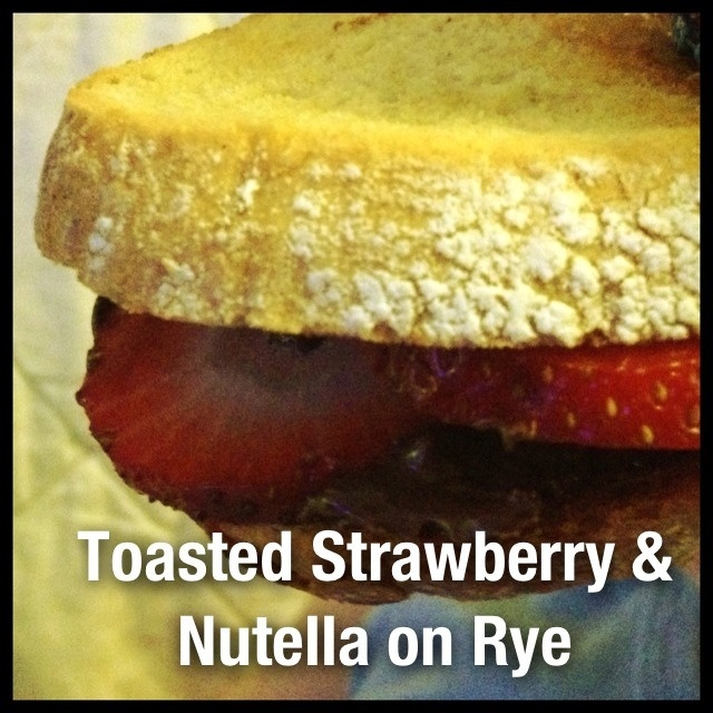Strawberry Nutella on Toasted Rye Bread. Shit just got serious!
