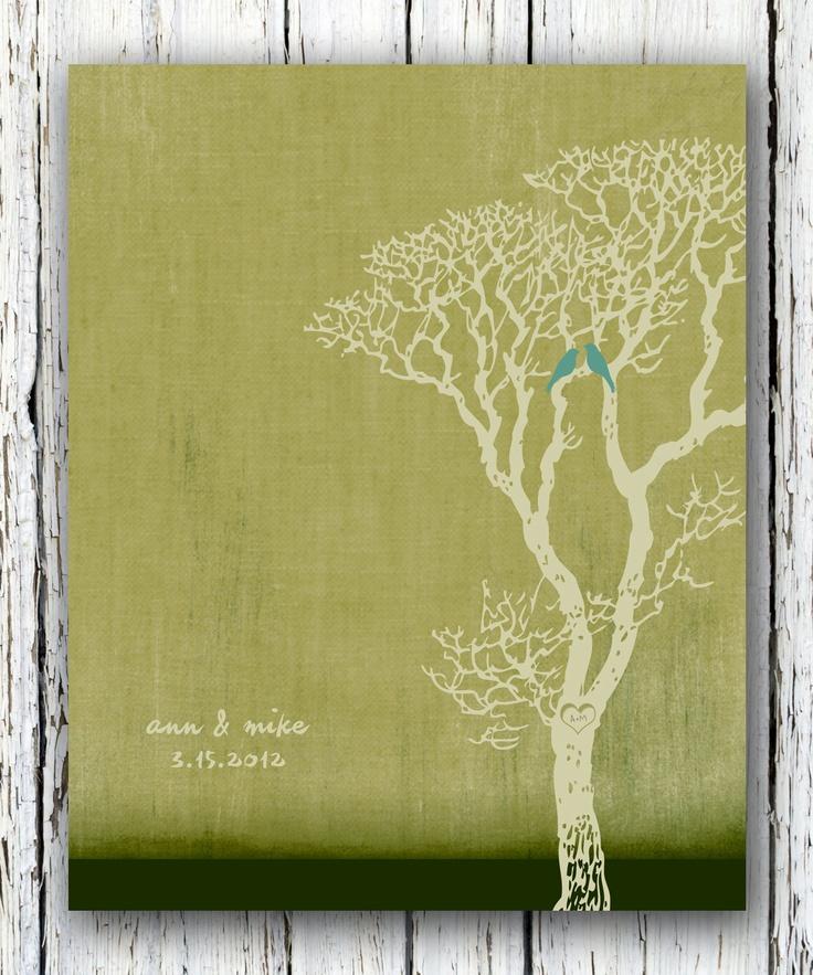 Custom Wedding Anniversary Tree, Family Tree, Wall Art Gift Lovebirds ...