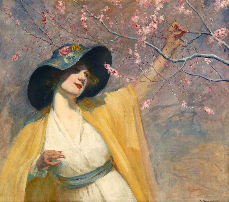 Jean Mannheim (1861-1945)  —  Picking Cherry Blossoms, The Yellow Kimono (800×708)