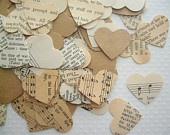 Vintage Book Confetti - Vintage Wedding - Romantic Vintage Heart Confetti
