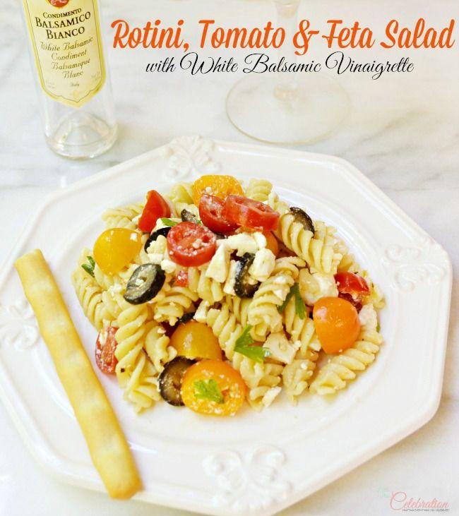 Rotini, Tomato Feta salad, finished with a white balsamic vinaigrette ...