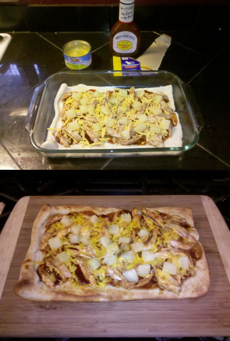 BBQ Chicken and Pineapple Pizza - Soo good!! Ingredients: refrigerated ...