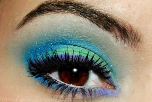 Blue green and purple bright eye make up #eyes #makeup #eyeshadow