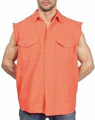 3x Designer Men's Clothes Mens Orange Cut Off Sleeveless