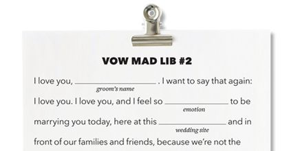 How To Make Up Your Own Wedding Vows : Fill-in-the-Blank Wedding Vows - Write Your Own Wedding Vows