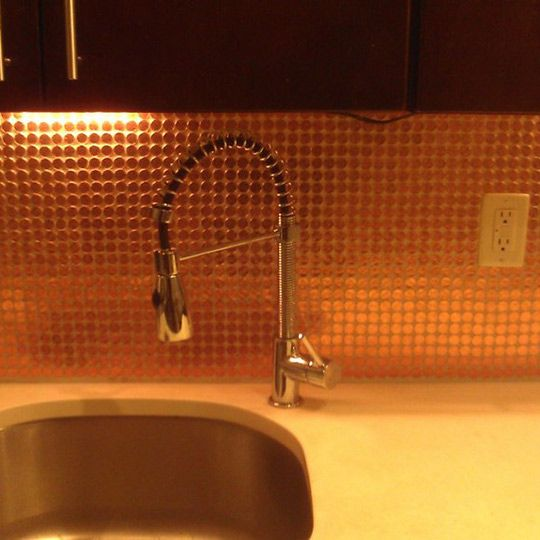 Look a real penny tile backsplash for Copper penny tile backsplash