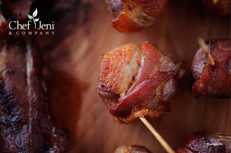 Bacon wrapped roasted new potatoes from Chef Jeni - yum!