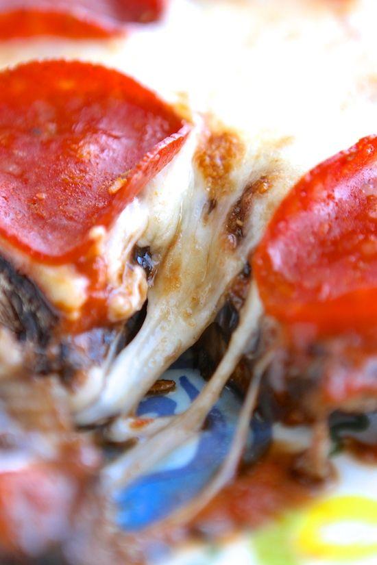 Low Carb Portobello Pizzas...cheesy pizza goodness stuffed into a ...