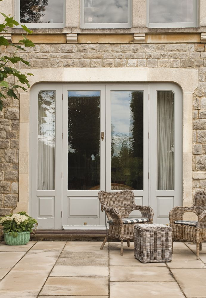 Modern country style colour study farrow and ball french for French doors front entrance