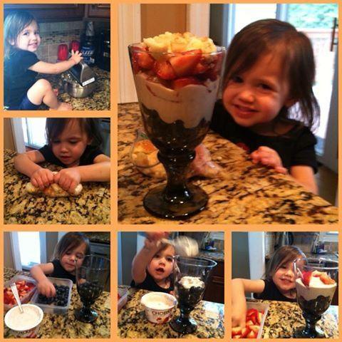 ... banana chobani yogurt, strawberries and crushed sugar cookies