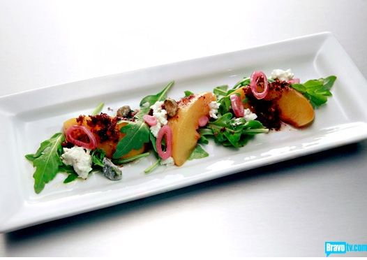 peach and goat cheese salad | Chef - Recipes | Pinterest