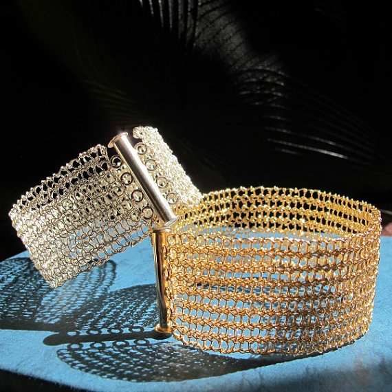 Silver or goldfilled cuff bracelet wire crochet by MilestoneDesign, $131.00