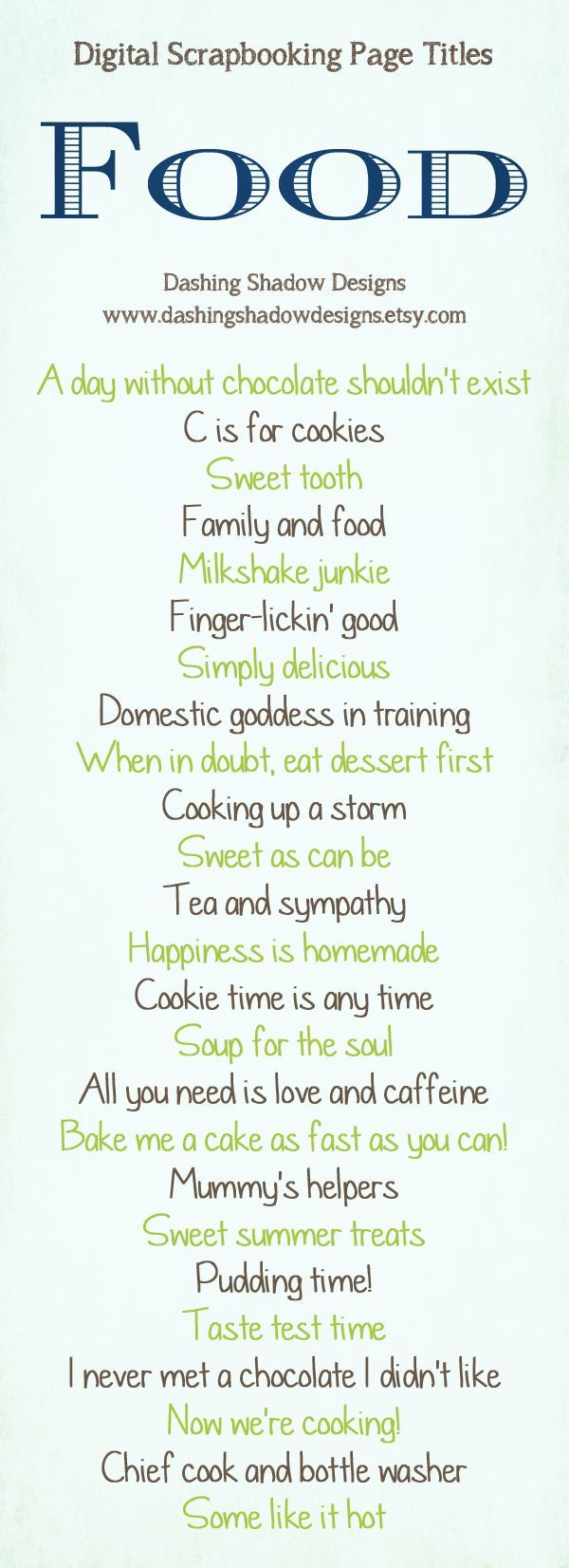 Food scrapbook layout titles Quotes and sayings for scrapbook page