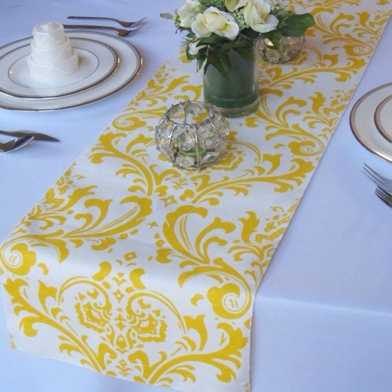 $12.00 Wedding  on by table floratouch, runner White wedding Traditions yellow Damask Table Yellow