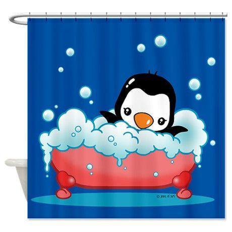Penguin Shower Curtain On