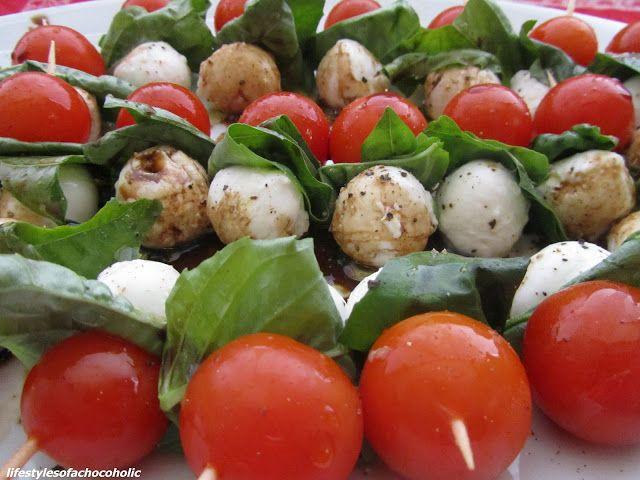 Tomato, Basil, & Mozzarella Skewers | Yum yum! | Pinterest