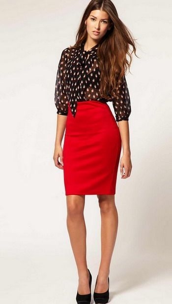 Red pencil skirt outfit ideas – Fashionable skirts 2017 photo blog