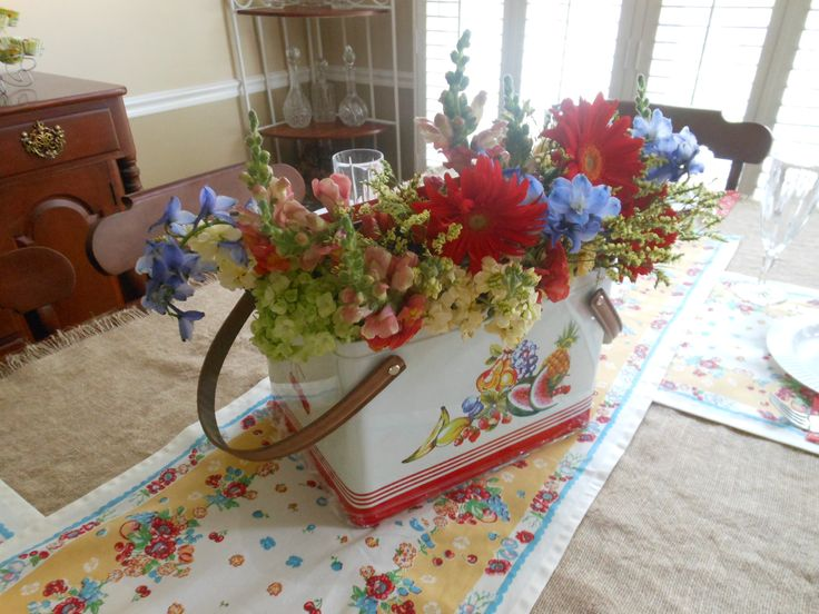 Grocery Store Wedding Flowers Vintage Looking Picnic Carrier And Flowers From The Grocery Store