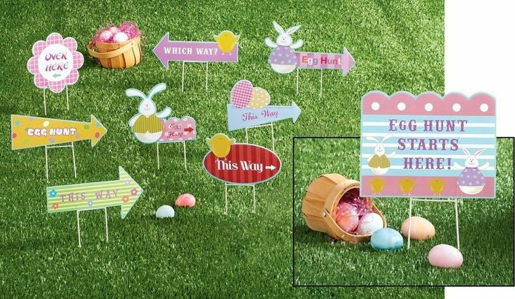 Easter egg hunt yard signs kit home holiday outdoor spring for Spring yard decorations