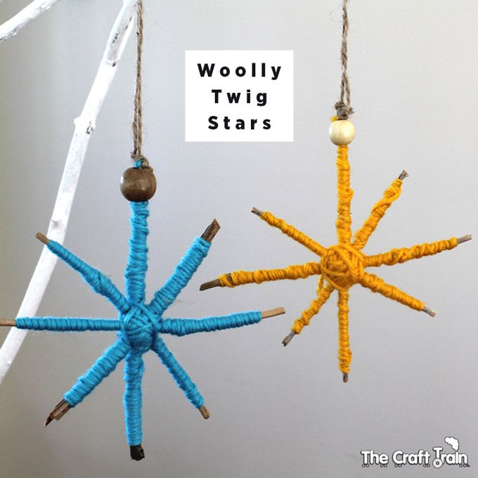 Simple Christmas star decorations made from twigs and wool