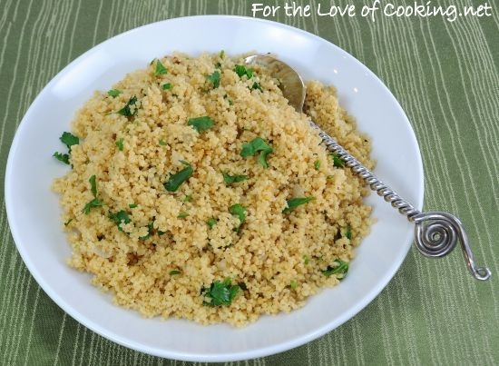 Herbed Couscous Pilaf (substitute chicken broth for veggie stock)