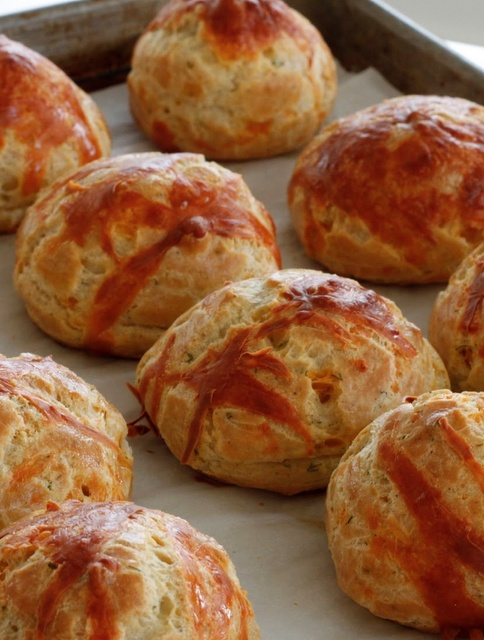 Cheddar-chive-thyme Gougeres | Food, Glorious Food! | Pinterest