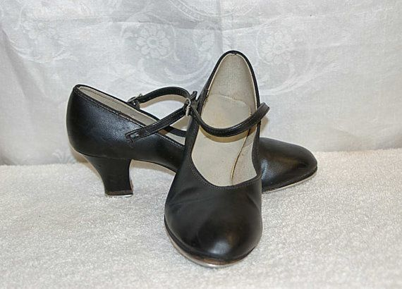 1950S Black Leather Mary Jane Tap Shoes Womens 5 1/2+ Dancing Shoes by
