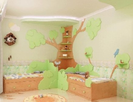 Corner Tree Shelf For A Baby Kids Room For The Home