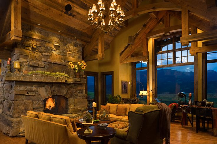 Rustic great room my house someday pinterest for Rustic great room