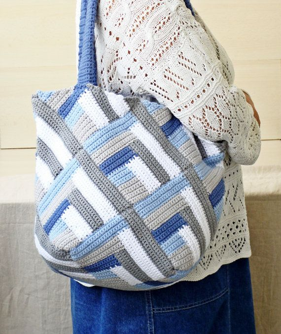 Summer crochet tote bag, cotton tote bag, geometrical blue, gray, whi ...