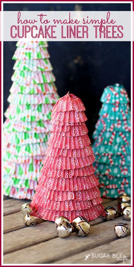 DIY holiday cupcake liner tree craft