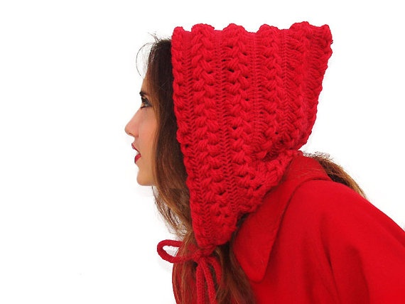 Crochet Hair Red : Red crochet hat hood braids hood cowl cape red by Lasunka, ?35.00